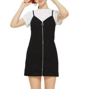 TopShop Moto Zip Up Denim Mini Dress